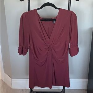 New York Co Wine Colored Stretch Blouse Size L
